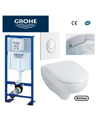 wc suspendu grohe plaque blanche rimfree. Black Bedroom Furniture Sets. Home Design Ideas