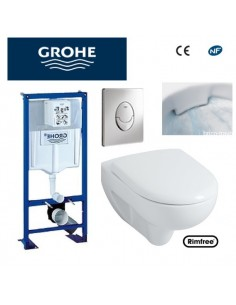 Bâti support WC suspendu Grohe autoportant plaque grise