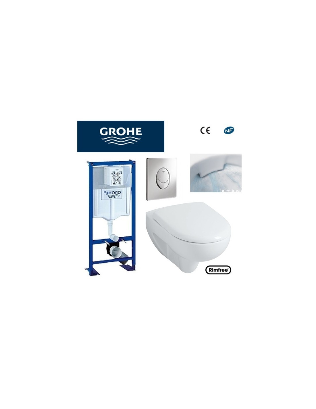 wc suspendu grohe plaque grise rimfree. Black Bedroom Furniture Sets. Home Design Ideas