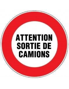 Panneau de signalisation rond Sortie de camions