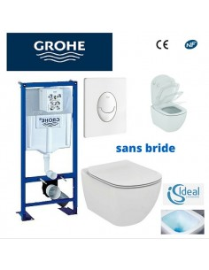 Pack WC grohe - cuvette sans bride ideal standard - plaque blanche