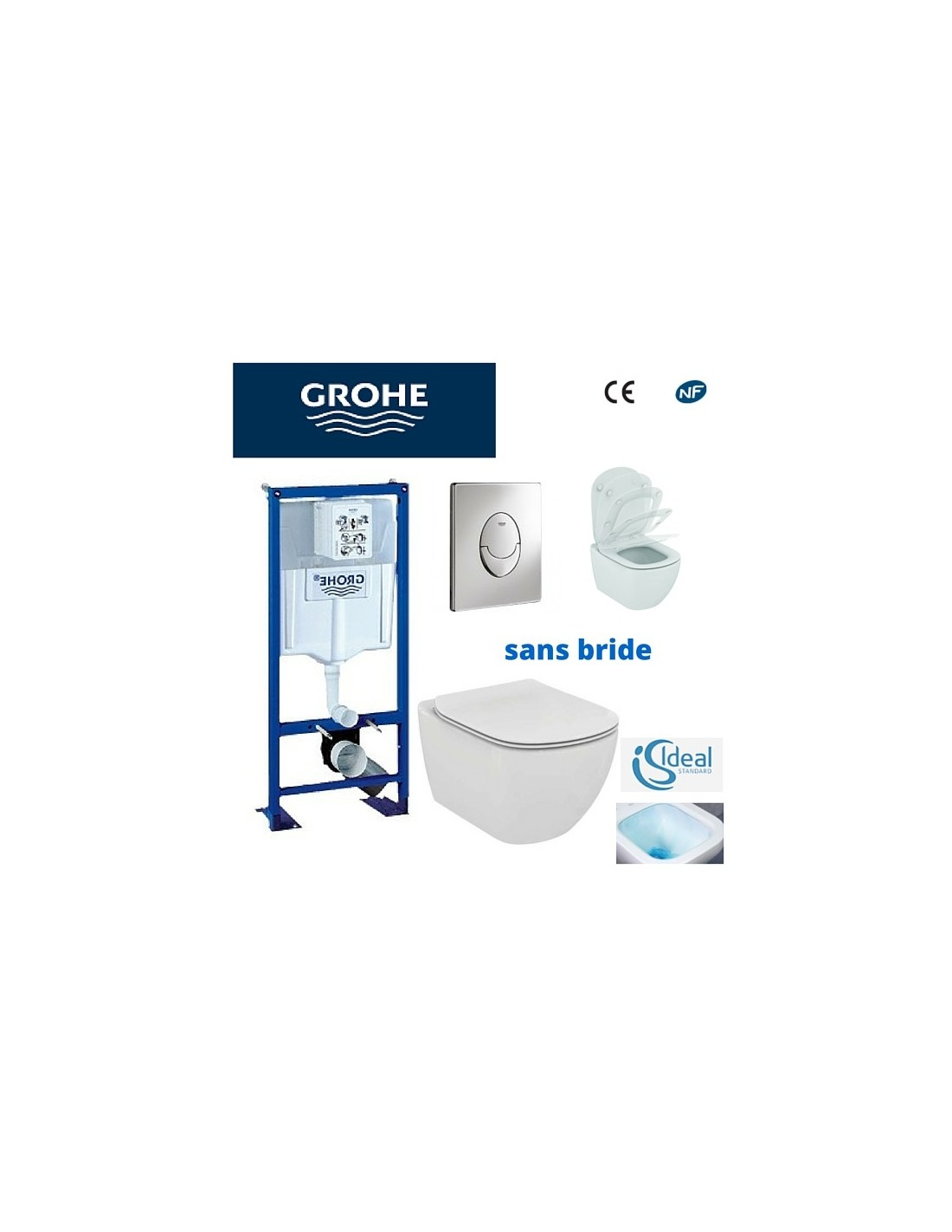 pack wc grohe cuvette sans bride ideal standard plaque grise. Black Bedroom Furniture Sets. Home Design Ideas