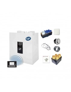 Kit vmc double Flux ideo 325 Ecowatt Radio avec Kit Accessoires Unelvent