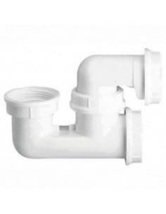 Siphon de baignoire plastique blanc avec bouchon de visite - nicoll