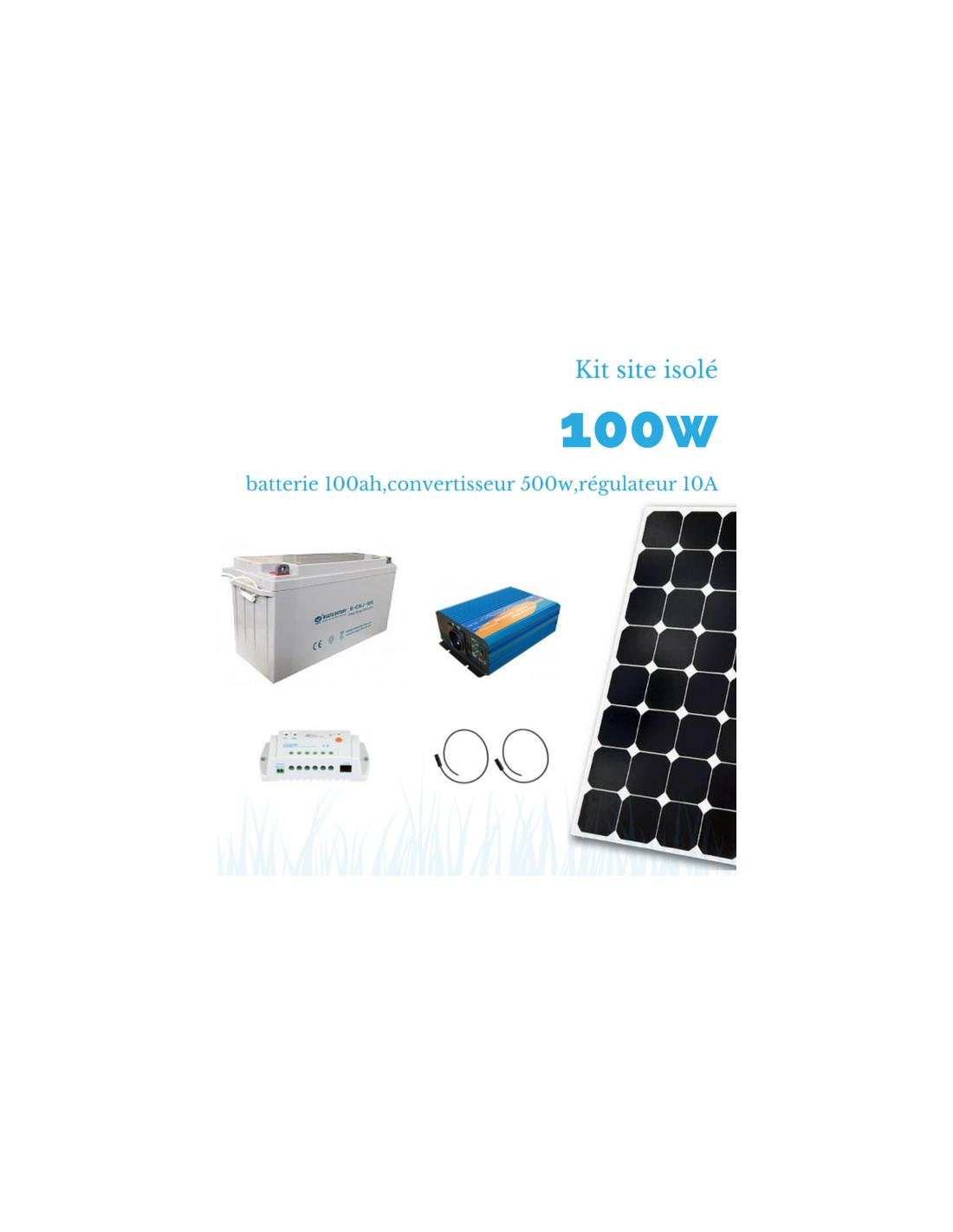 kit solaire 100w batterie 100 ah 500w sinus. Black Bedroom Furniture Sets. Home Design Ideas