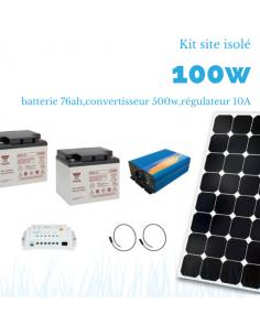Kit solaire 100W , batterie 76 Ah, 500w