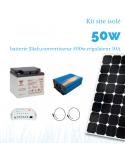 Kit solaire 50W , batterie 24 Ah, convertisseur 500w