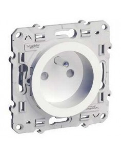 Prise de courant Odace 2P+T blanc à vis, 4 connexions rapides par pôle, spéciale rénovation