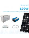 Kit solaire 100W , batterie 100 Ah, 600w pur sinus