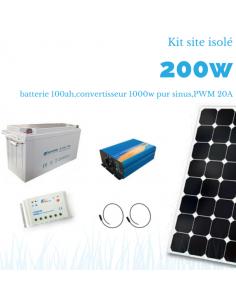 Kit solaire 200W , batterie 100 Ah, 1000w pur sinus