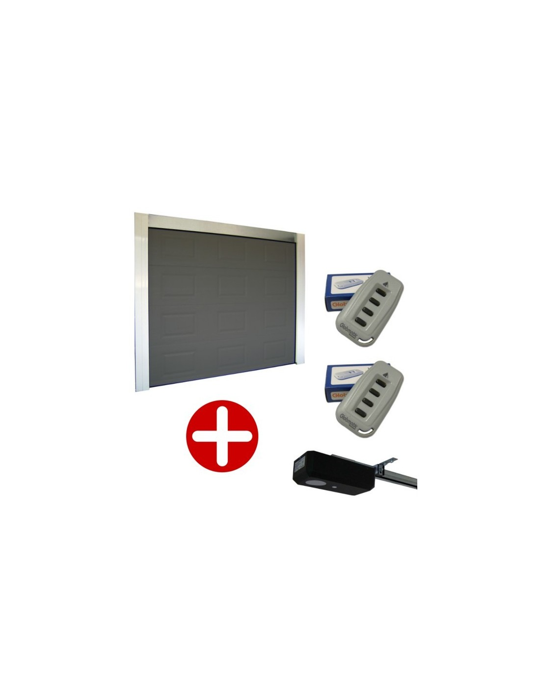 Porte de garage sectionnelle cassette 40mm grise motoris e for Porte de garage grise la rochelle