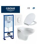 Bâti support WC bastia suspendu Grohe autoportant plaque blanche