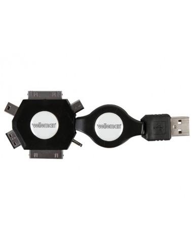 Cable de charge usb rétractable - 6 en 1 - male/male - noir - 53cm