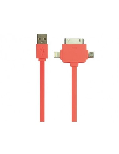 Cable de charge/synchronisation usb 2.0 - 3 en 1 - male/male - orange fluorescent - 1 m