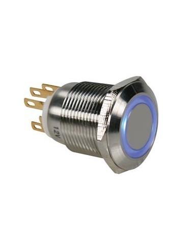 Bouton-poussoir en acier inoxydable spdt 1no 1nc - anneau bleu - 19mm