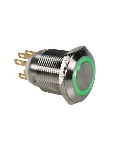 Bouton-poussoir en acier inoxydable spdt 1no 1nc - anneau vert - 19mm