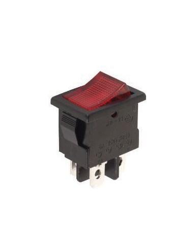 Interrupteur de puissance a bascule 3a-250v dpst on-off - avec temoin neon rouge