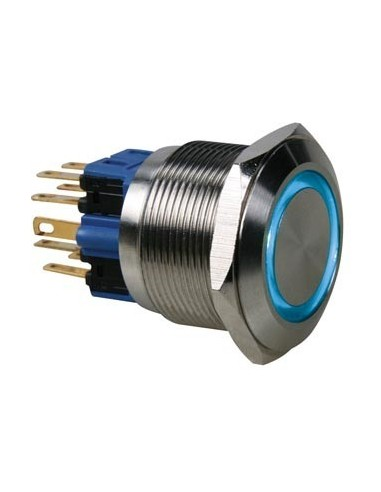 Bouton-poussoir - plat - acier inoxydable - dpst 1no 1nf - anneau bleu