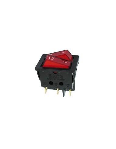 Interrupteur de puissance a bascule 10a-250v dpst on-off - avec temoin neon rouge