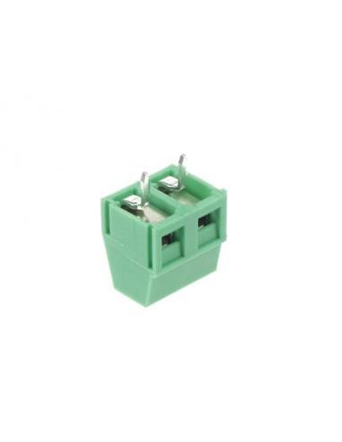 Bornier professionnel, profil bas, 2 pôles, vert, au pas de 5mm