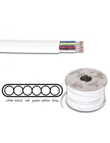 Cable téléphonique 6 x 0.08 mm - blanc, plat