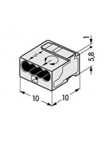 Borne micro pour boîte de dérivation 4 conducteurs, gris clair - 100 pièces