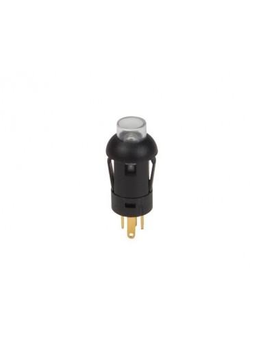 Poussoir - miniature - rond - spst (allumé-éteint) - 1p - avec cables - led blanche
