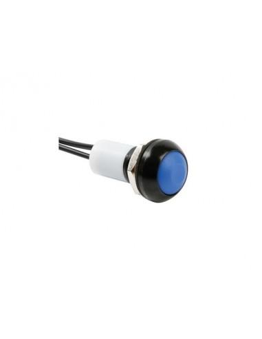 Poussoir métallique rond avec capuchon bleu - 1p spst off-(on) - avec cables