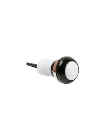 Poussoir métallique rond avec capuchon blanc - 1p spst off-(on) - avec cables