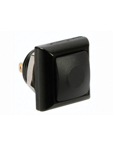 Poussoir métallique carré avec capuchon noir - 1p spst off-(on)