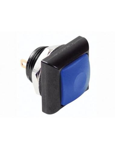Poussoir métallique carré avec capuchon bleu - 1p spst off-(on)