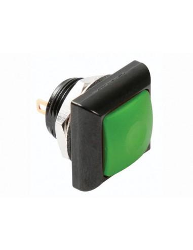Poussoir métallique carré avec capuchon vert - 1p spst off-(on)