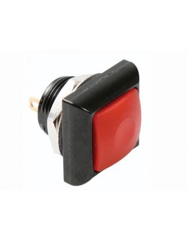 Poussoir métallique carré avec capuchon rouge - 1p spst off-(on)