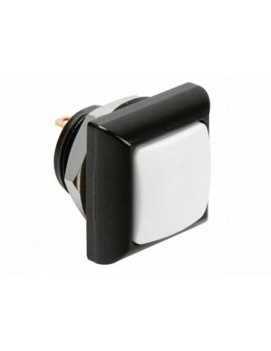 Poussoir métallique carré avec capuchon blanc - 1p spst off-(on)