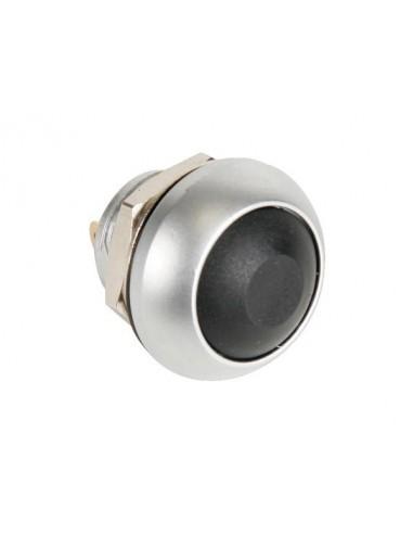 Poussoir métallique rond avec capuchon noir - 1p spst off-(on)