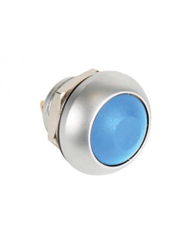 Poussoir métallique rond avec capuchon bleu - 1p spst off-(on)