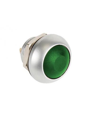 Poussoir métallique rond avec capuchon vert - 1p spst off-(on)