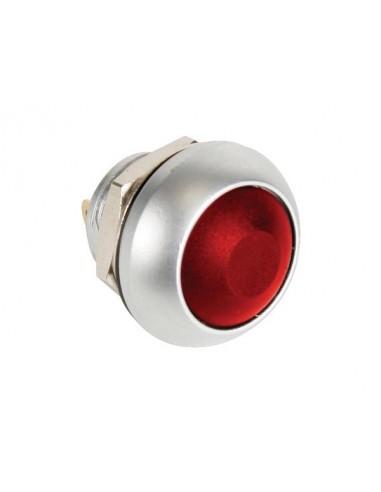 Poussoir métallique rond avec capuchon rouge - 1p spst off-(on)