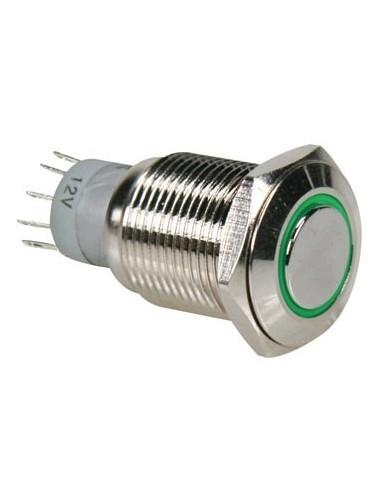 Interrupteur métallique rond spdt 1no 1nc - anneau vert