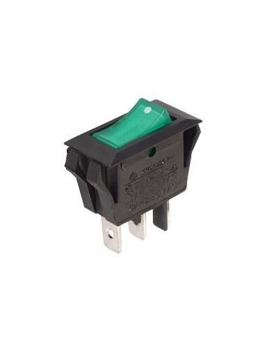 Interrupteur de puissance a bascule 10a-250v spst on-off - avec temoin neon vert