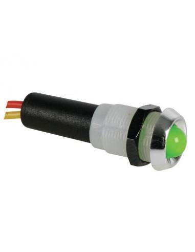 Voyant led vert 12v - boitier chrome