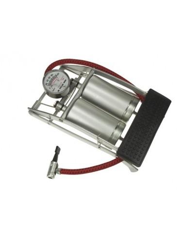 Pompe a pied double cylindre avec manometre