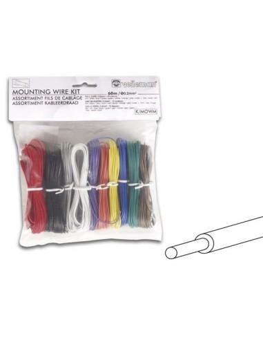 Assortiment fils de cablage - 10 couleurs - 60m - ame monobrin