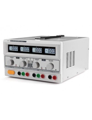Double alimentation de laboratoire 2 x 0-30 vcc / 0-3 a + 5 vcc fixe 3 a max / avec 4 afficheurs lcd