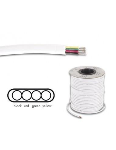 Cable téléphonique 4 x 0.08 mm - blanc, plat