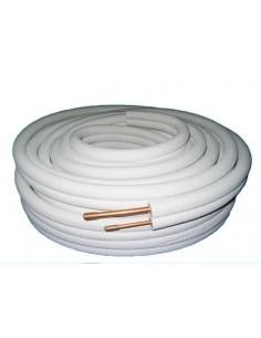 Bi-tube cuivre pré-isolé 1/4 3/8 classe M1 par 30 mêtres pour climatisation