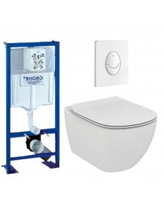 Pack wc grohe - cuvette sans bride ideal standard - plaque blanche