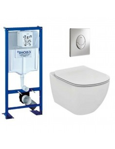 Pack wc grohe - cuvette sans bride ideal standard - plaque grise