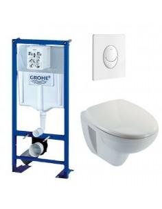 Bati support wc suspendu grohe autoportant plaque blanche