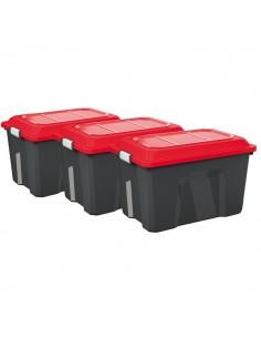 malle rang 60l lot de 3 locker noir-rouge ref.4552002